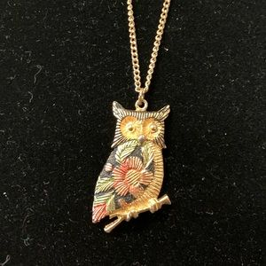 Vintage Gold-tone Flower Owl Necklace